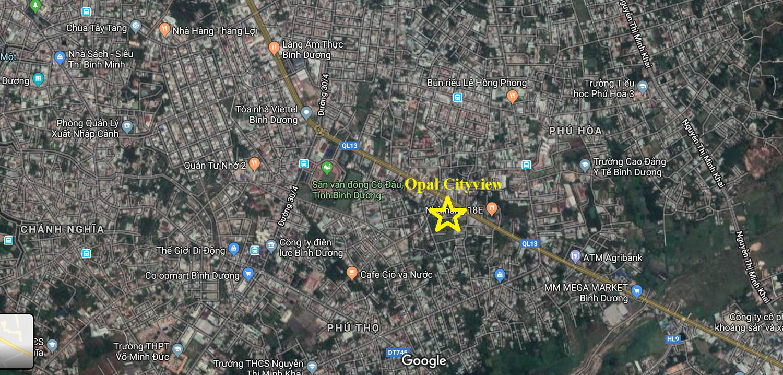 Vị trí căn hộ Opal Cityview Thủ Dầu Một