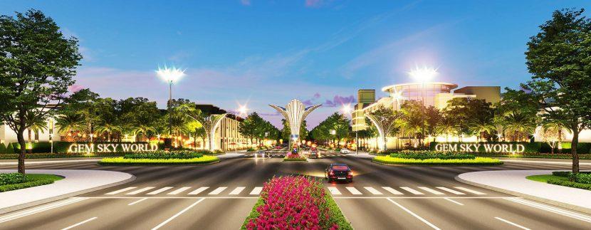 Cổng Nam khu đô thị Gem Sky World Đất Xanh