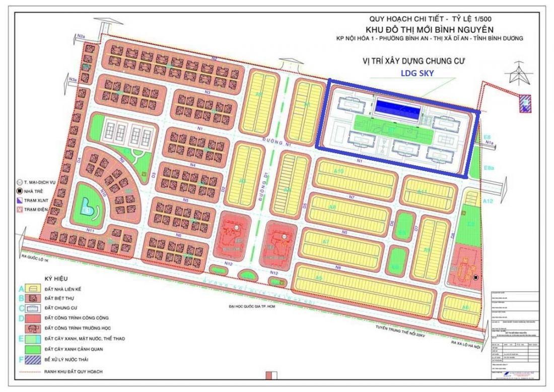 Tổng quan vị trí khu căn hộ LDG Sky trong khu đô thị Bình Nguyên