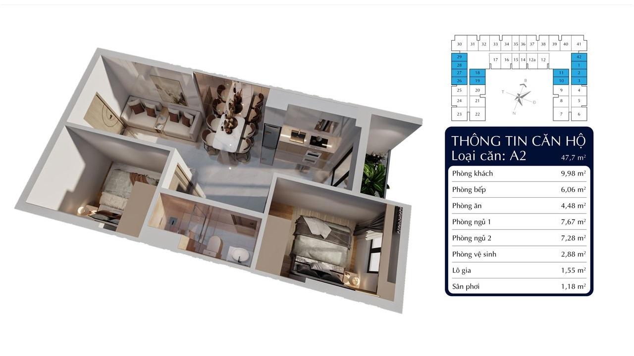 Căn 2 phòng ngủ 48m2 Tecco Felice Homes Thuận An