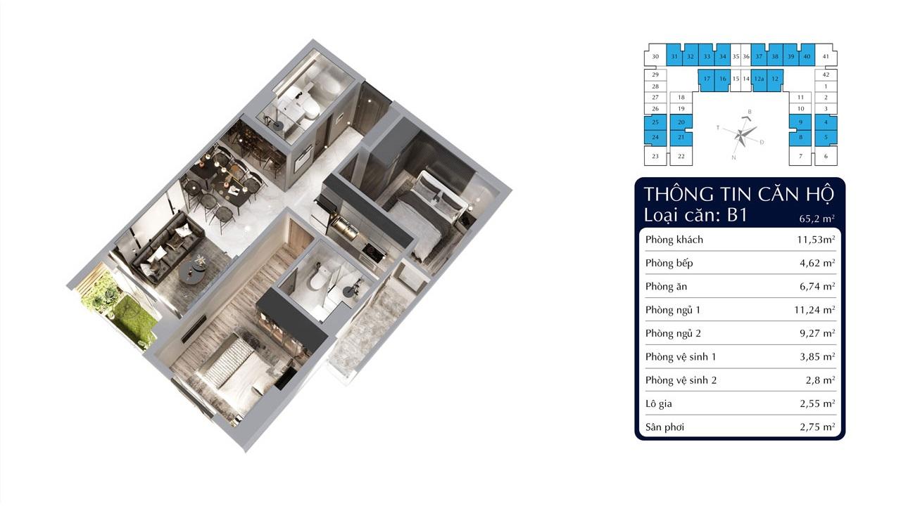 Căn 2 phòng ngủ 65m2 dự án Tecco Felice Homes Bình Dương