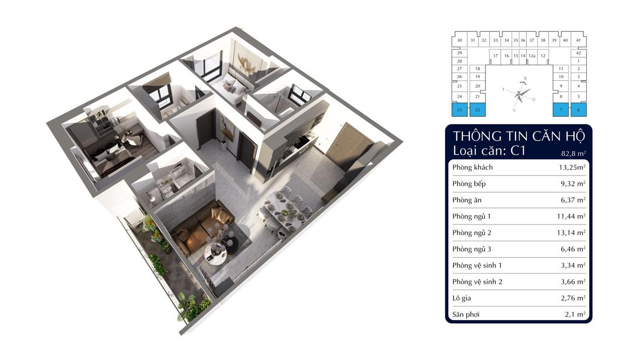 Căn 3 phòng ngủ dự án Tecco Felice Homes An Phú