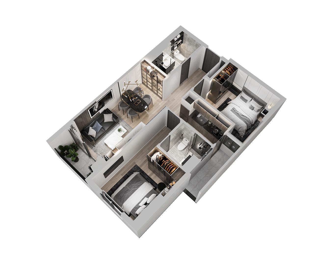 Căn hộ 2 phòng ngủ 65 m2 Tecco Felice Homes