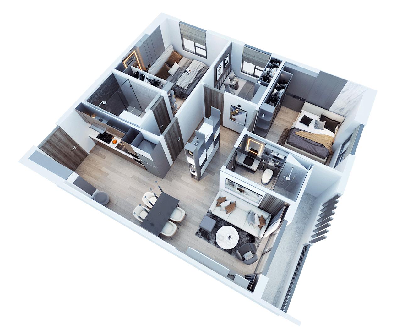 Căn hộ Tecco Felice Homes 3 phòng ngủ 83 m2