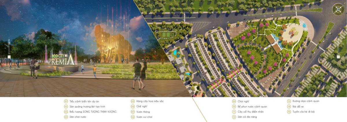 Các tiện ích tại Quảng trường Premia Square Dự án Eco City Premia