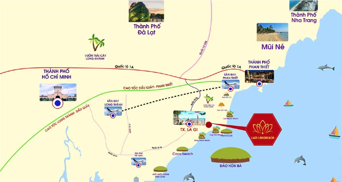 Vị trí dự án Lazi Long Beach Bình Thuận