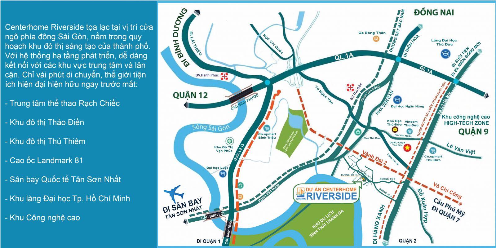 Vị trí khu nhà phố, biệt thự Centerhome Riverside quận Thủ Đức