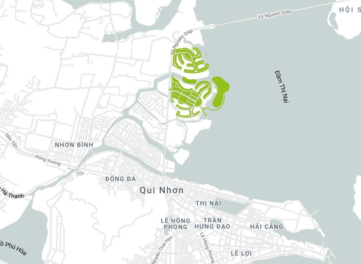 Vị trí khu du lịch Thị Nại Eco Bay Quy Nhơn Bình Định